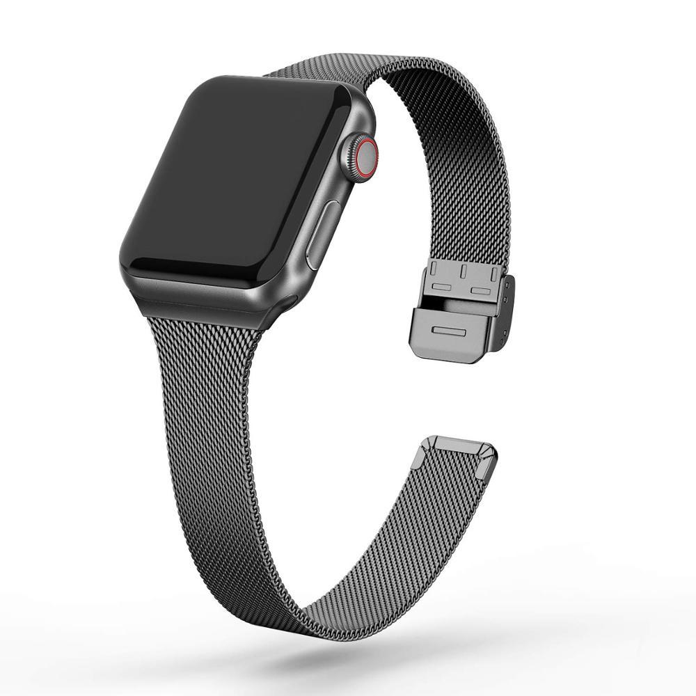 Milanese Schleife strap Für Apple Uhr band 5 44mm 40mm iWatch band 42/38mm edelstahl metall armband Apple uhr 5 4 3 2 1