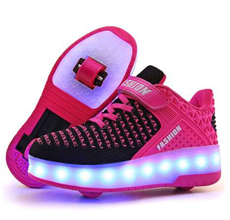 Hot! Kids Shoes With LED Lights Children Roller Skate Sneakers With Wheels Glowing Led Light Up For Boys Girls Roller Skate