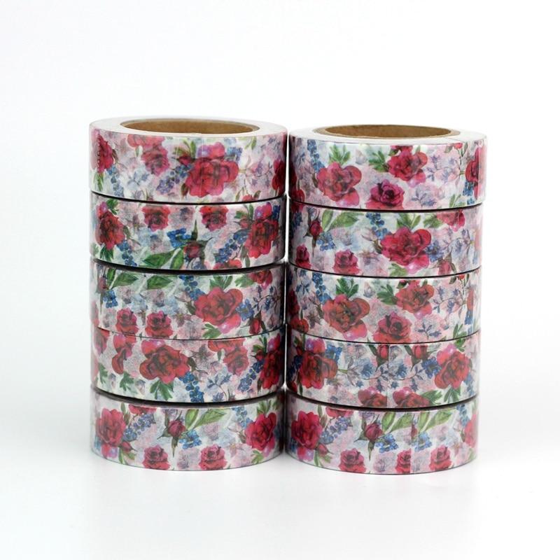 Wholesale 10pcs/lot Decor Cute Flowers Print Washi Tapes DIY Scrapbooking Planner Adhesive Masking Tapes Kawaii Stationery