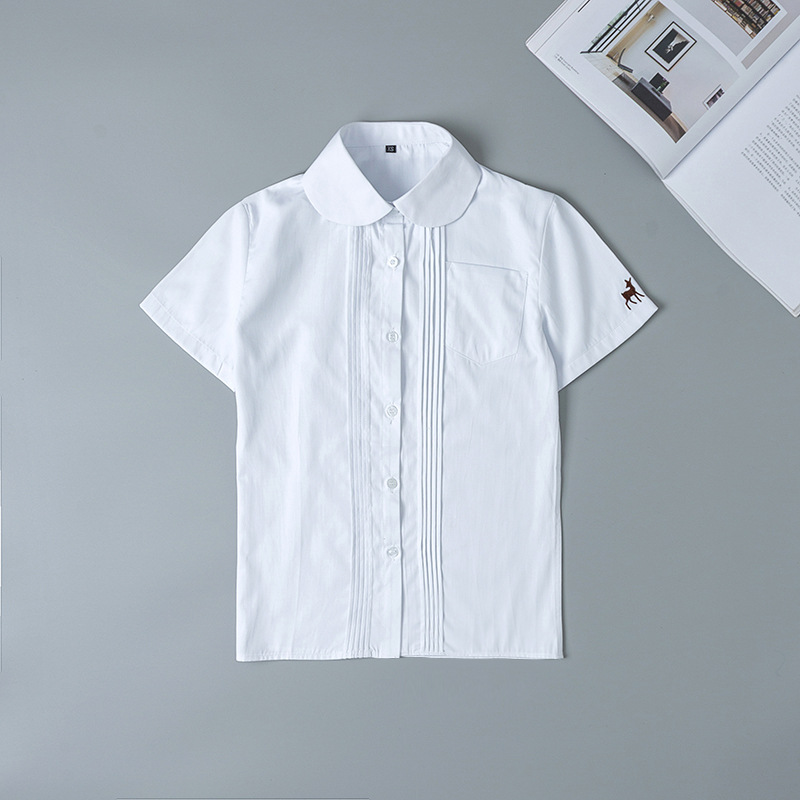 Japanese School Uniforms Short Sleeve White Shirt For Girls Embroidery School Dress Jk Sailor Suit Top Work Uniform For Women