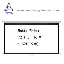 Thinyou Manual self-locking Projector Screen 72 inch 16:9 Matte White Pull Down Wall Mount For 3D Cinema School