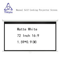 Thinyou Manual self locking Projector Screen 72 inch 16:9 Matte White Pull Down Screen Wall Mount For 3D Projector Cinema School