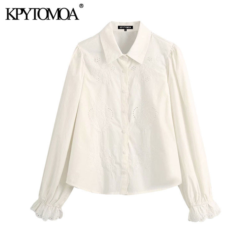 KPYTOMOA Women 2020 Fashion Embroidery Hollow Out Ruffled Blouses Vintage Long Cuffed Sleeves Female Shirts Blusas Chic Tops