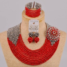 Fabulous Opaque Red Crystal Nigerian Traditional Wedding African Beads Jewelry Set Free Shipping DSJ-01