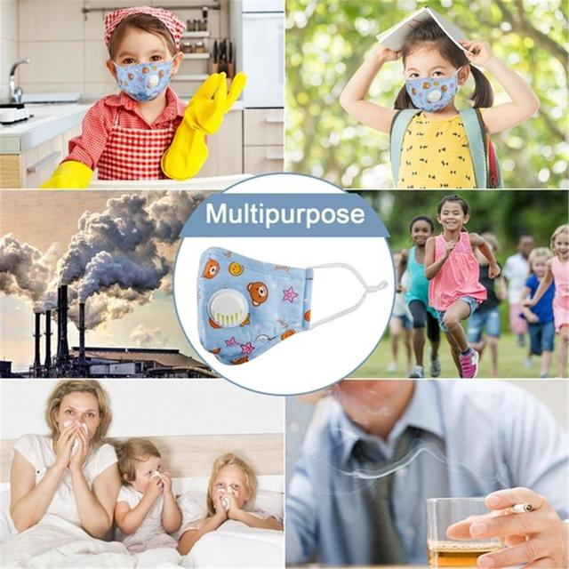 1Pc PM2.5 Anti Dust Face Mouth Mask + 10Pcs Activated Carbon Filter Breathable Cotton Protective Children Kids Mouth Face Mask 5