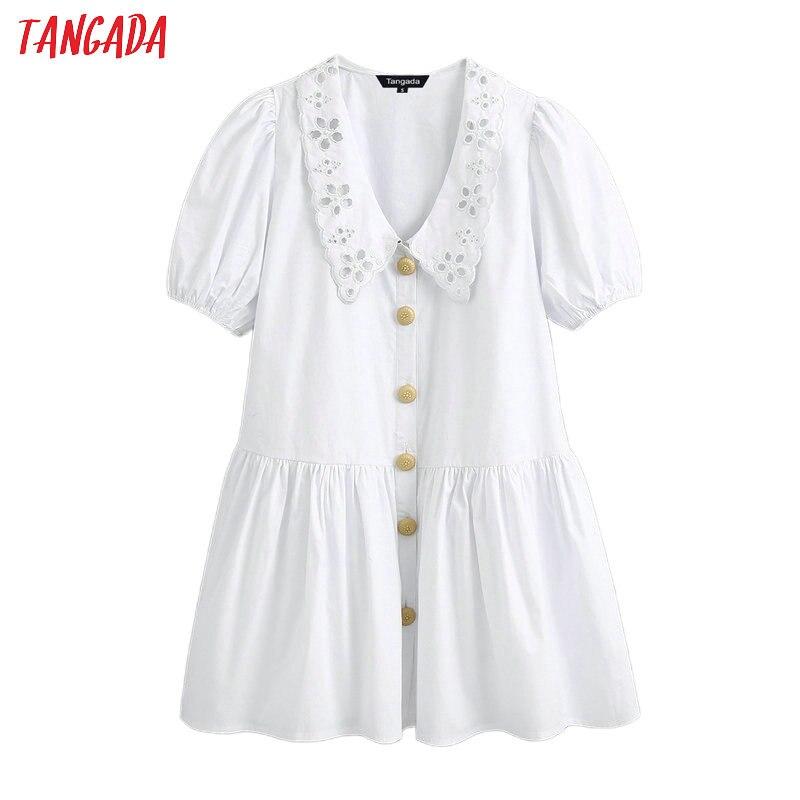 Tangada Fashion Women Solid White Cotton Dress Embroidery Short Sleeve Female Sweet Dress Vestidos BE531