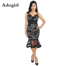 Adogirl Lace Spaghetti Straps Mesh Perspective Party Fishtail Patchwork Hollow Out Embroidery Floral Midi Bodycon Vestidos XXL