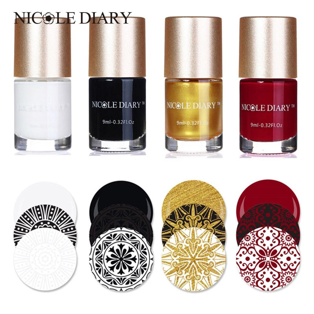 Nicole Diary штамп лак для ногтей для нанесения рисунков лак для ногтей Nail Art Штамп для ногтей DIY штамповка плиты инструменты