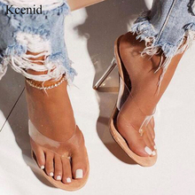 Kcenid 2020 Summer fashion transparent PVC flip flip flop green serpentine sexy high heels crystal party slippers shoes size 42