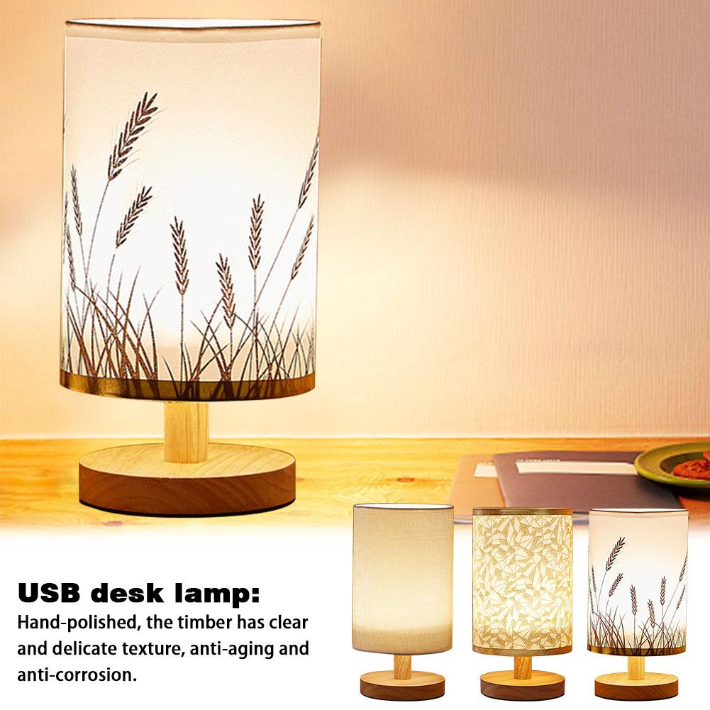 Nordic Style Wooden LED Desk Lamp 3W 5V USB Charging Table Night Light Warm White For Hotel Bedroom Living Room Office Bar