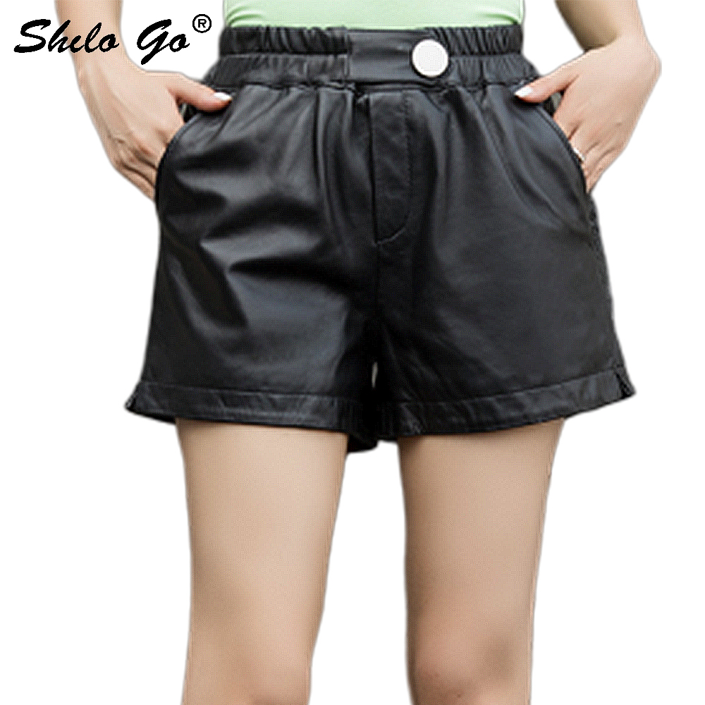 Genuine Leather Shorts Button Front Elastic Waist Wide Leg Shorts Women Autumn Casual Black Side Pocket Solid Mini Boots Shorts