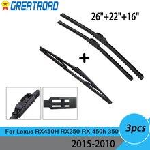 "3Pcs ด้านหน้ากระจกรถยนต์ใบปัดน้ำฝนสำหรับ Lexus RX450H RX350 RX 450H 350 2015 2014 2013 2012 2011 2010 26 ""22"" 16"""