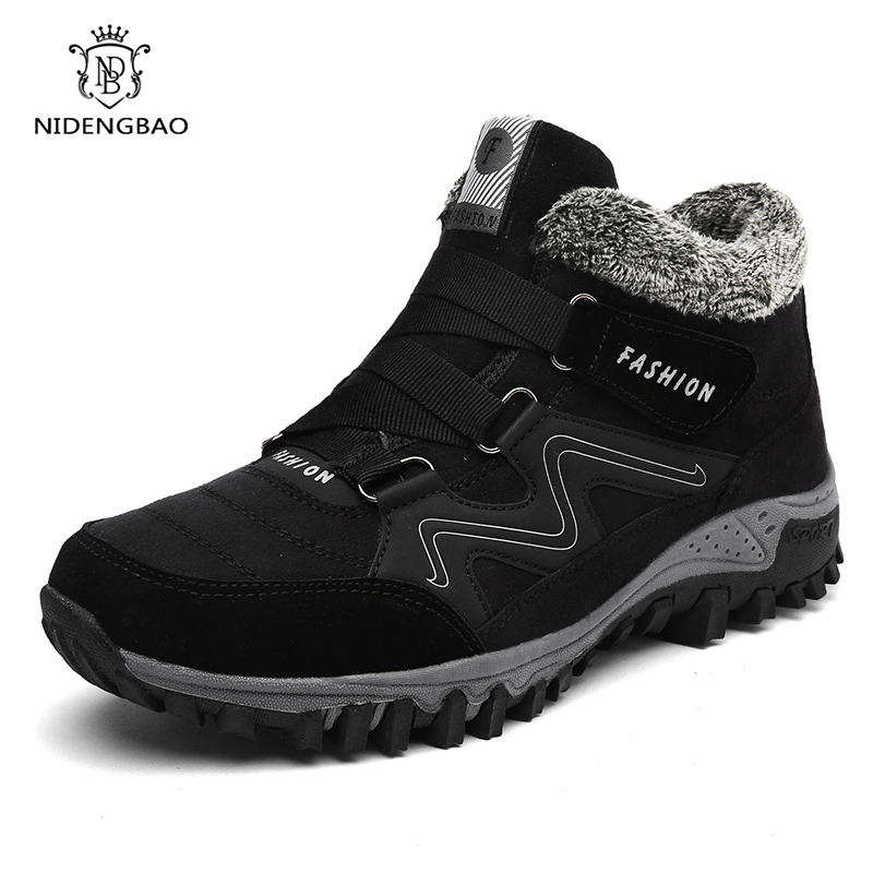 Winter Leather Men Boots With Fur Warm Snow Boots Men Casual Shoes Sneakers High Top Rubber Sole Ankle Boots Large Size 35-46