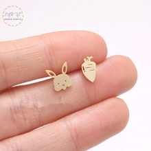 Bunny Rabbit Carrot Stud Earrings For Women Stainless Steel Punk Cute Cartoon Animal Jewelry Accessories Gifts Girl