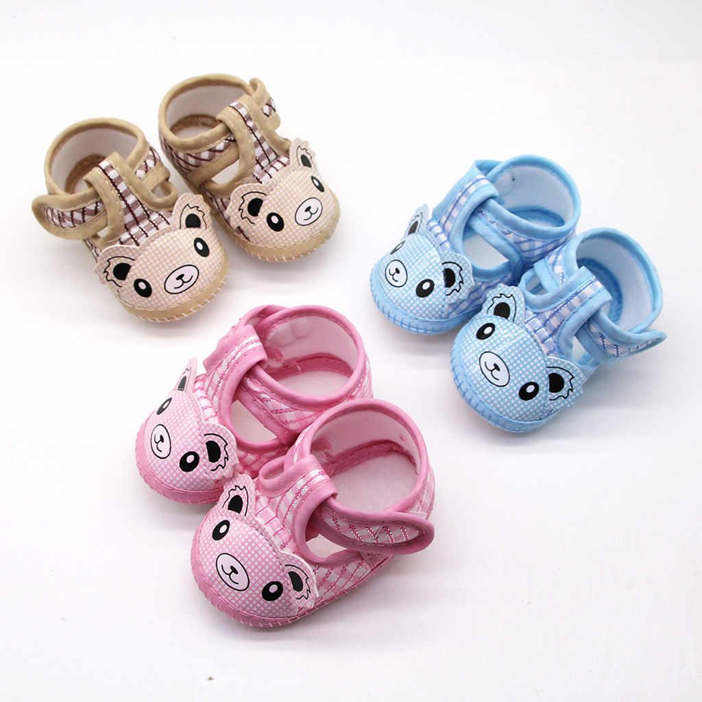 Karikatür küçük ayı Prewalker ayakkabı yenidoğan bebek kız yumuşak taban ilk yürüyüşe yenidoğan ayakkabı tek ayakkabı buciki dla niemowlat