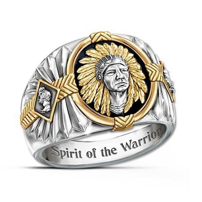 Indio anillo tótem espíritu de el guerrero inscrito a guerrero vikingo anillos dorados, plateados joyería de hombre regalo Tamaño 7 12