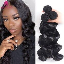 Malaika 28 30 polegadas pacotes de onda solta 100% extensão do cabelo humano remy 3 4 pacotes tecer cabelo brasileiro pacotes