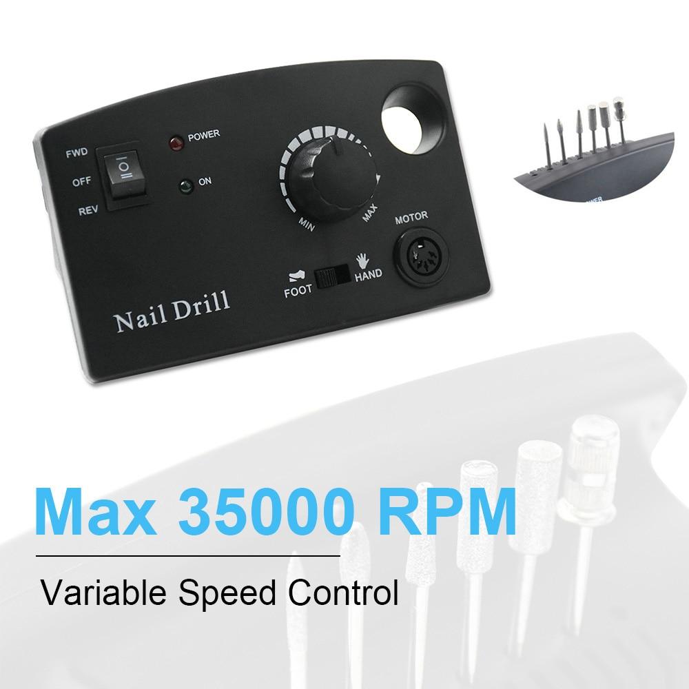 Image 2 - 35000RPM Manicure Machine Nail Drill Machine For Manicure Pedicure Nail Art Equipment Electric Nail File Nail Drill Bit ToolElectric Manicure Drills   -