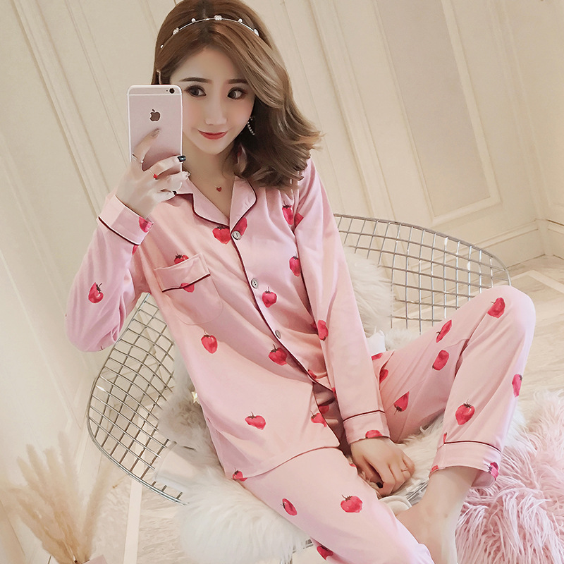 Strawberry-patterned Pajamas For Women Spring Autumn Long Sleeve 2 Pcs Loose Comfort Pyjama Sets Female Pijama Casual Sleepwear