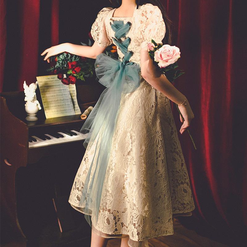 New 2020 Court Retro Style Dress Bowknot A-Line Elegant Lace Fairy High Waist French Vintage Dress Weddings Events Autumn Korean