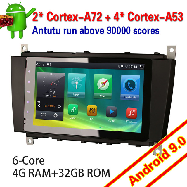 6283 Android 9.0 Car Stereo 6 Core for Mercedes Benz Class C/CLK/CLC W203 DAB+ TDT 4G WIFI Touch Autoradio Multimedia player