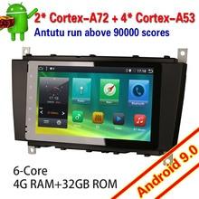 6283 Android 9.0 Car Stereo 6 Core per Mercedes Benz Classe C/Clk/Clc W203 Dab + Tdt 4G di Tocco di Wifi Autoradio Multimedia Player