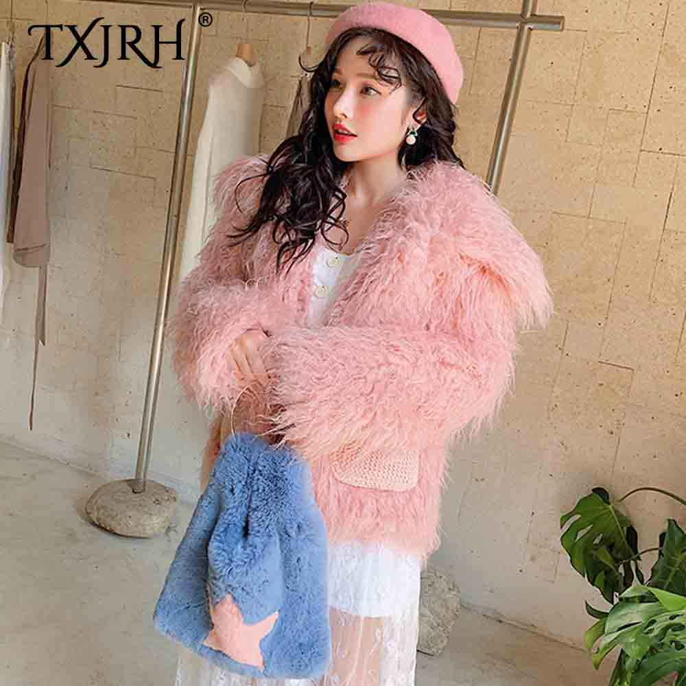 TXJRH スタイリッシュなフェイクモンゴルの羊の毛皮ロング毛深いシャギービッグラペル生き抜く長袖ニットポケットジャケットコートトップススウェット 2 色