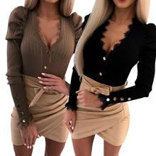Femmes pull hauts coupe ajustée t-shirt décontracté à manches longues col en V profond T-shirts bouton conception Stretch automne printemps basique T-shirts