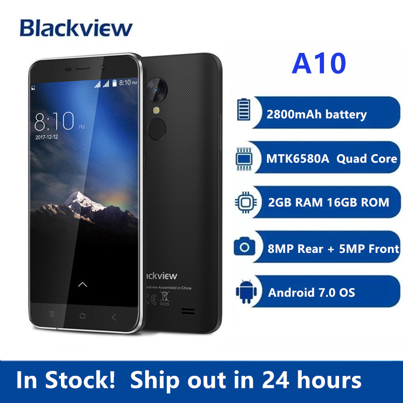 Blackview A10 MT6580A 4 ядра 2 Гб Оперативная память 16 Гб Встроенная Память 5 дюймов HD 3G Смартфон Android 7,0 отпечатков пальцев 8.0MP мобильный телефон PK X30 X60L