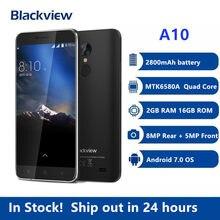 Blackview A10 MT6580A dört çekirdekli 2GB RAM 16GB ROM 5 inç HD 3G Smartphone Android 7.0 parmak izi 8.0MP cep telefonu PK X30 X60L