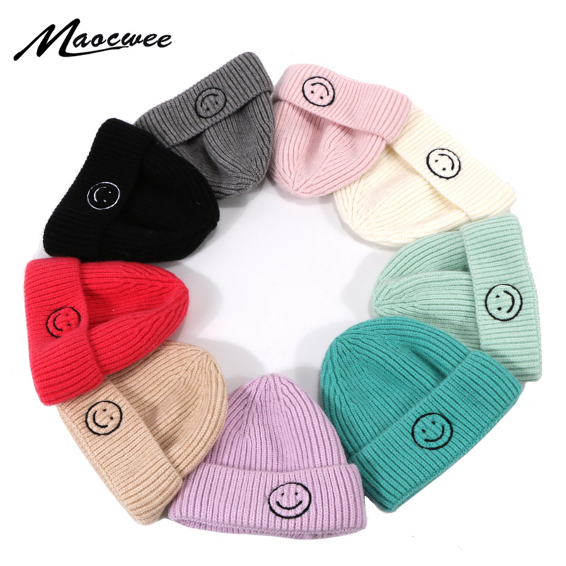 Beanie Hat Unisex Smile Face Pattern Winter Skullies Beanies Knitted Short Melon Cap Solid Color Skull Hat Outdoor Baggy Ski Hat