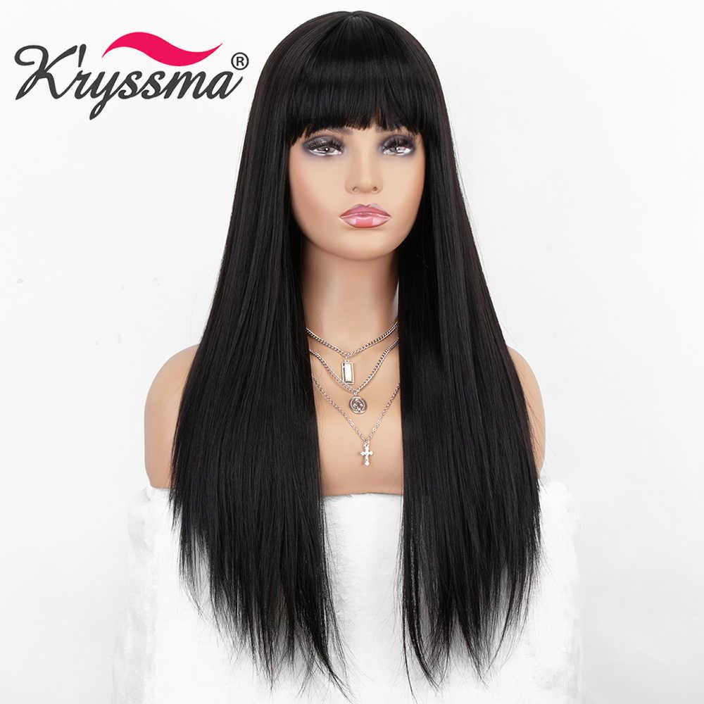 Kryssma Hitam Wig Panjang Lurus Sintetis Wig 13 × 6 Lace Front Wig Cosplay Wig untuk Wanita Tahan Panas serat Rambut