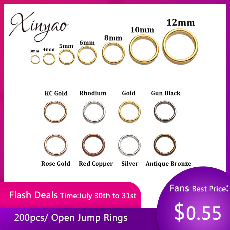 200pcs/Lot Gold Silver Loop 4 6 8 10mm Open Jump Rings For DIY Jewelry Making Necklace Bracelet Findings Connector Supplies(China)