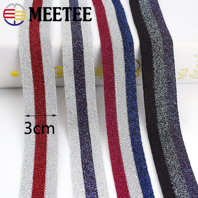 15Yards 3cm Gold Silver Stripe Knitted Webbings Tapes Sport Pants Trousers Lace Ribbons Sewing Band Trimmings DIY Accessories in Webbing from Home Garden