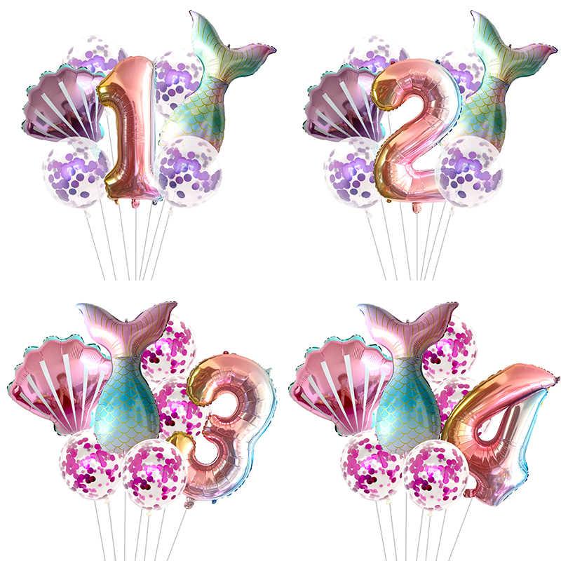 7 Buah/Banyak Ikan Balon Pesta 32 Inci Nomor Foil Balon Pesta Ulang Tahun Baby Shower Dekorasi Helium Globos