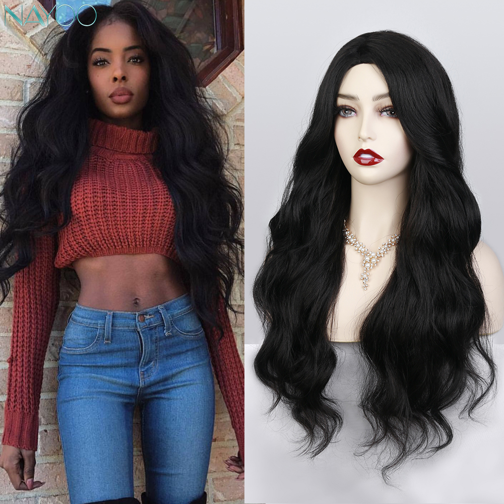 Ombre Wavy Wigs Long Black Curly Wigs Synthetic Wigs for Women Water Wave Heat Resistant Middle Part Cosplay Wigs Fake Hair