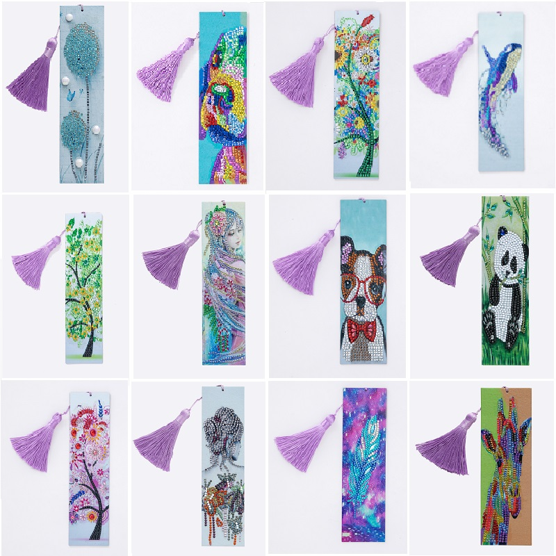 5D Diamond Painting Exquisite Pretty Girl Leather Bookmarks Tassel Bookmarks Craft Decoration Special Shaped Diamond Embroidery