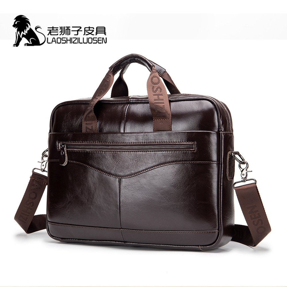 Sac d'affaires sac à main hommes en cuir marron véritable pochette d'ordinateur pour grand homme sacs Attache Case mallette ordinateur portable Document 0019