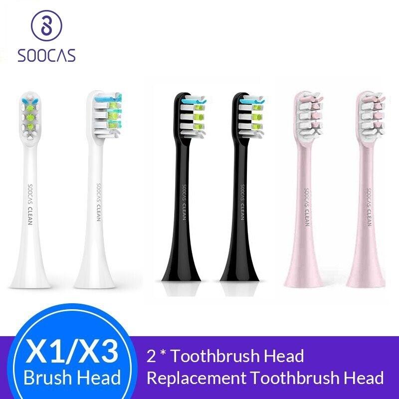 Soocas X3 X1 X5 cabezales de cepillo de dientes para Xiaomi Mijia X3 cabezal de cepillo de dientes original sónico eléctrico de repuesto cabezas de cepillo de dientes 2 piezas
