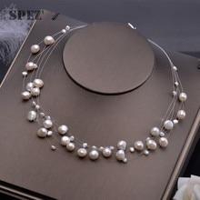 天然淡水真珠のネックレスバロック真珠 4 8 ミリメートル 5 行ボヘミア手作りジュエリーファッション spez