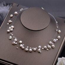 Collar de perlas naturales de agua dulce para mujer, perlas barrocas de 4 8mm, 5 filas, joyería Bohemia hecha a mano