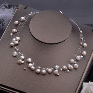 Image 1 - Collier de perles deau douce naturelles pour femmes perles baroques 4 8mm 5 rangées bohême bijoux faits à la main mode spez