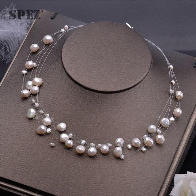Collier de perles deau douce naturelles pour femmes perles baroques 4 8mm 5 rangées bohême bijoux faits à la main mode spez