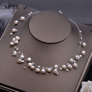 Image 1 - Natural freshwater pearl necklace for women  Baroque Pearls 4 8mm 5 Rows Bohemia Handmade Jewelry Fashion spez