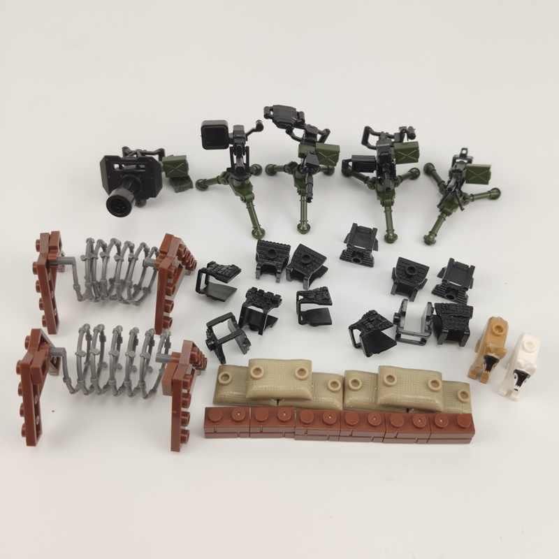 Legoing WW2 As Armas de Brinquedo Blocos Militares Body Armor Obstáculo Building Blocks Brinquedos Para Crianças Compatíveis com Militar Do Exército