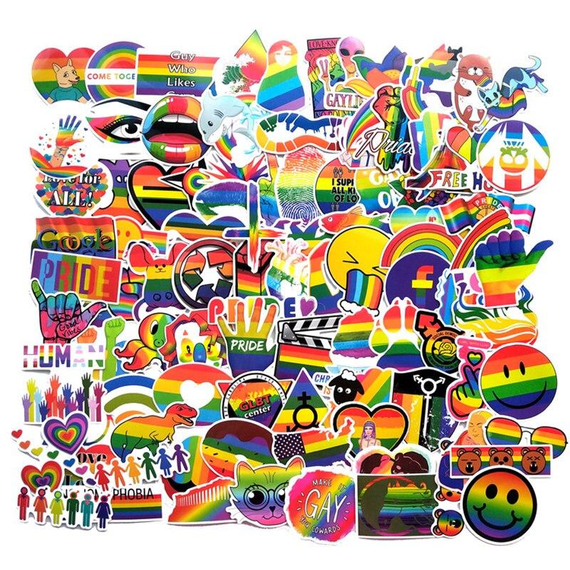 100Pcs Gay Pride Rainbow Hand Reflective Car Sticker Decal PVC Irregular Funny Decal Car Styling