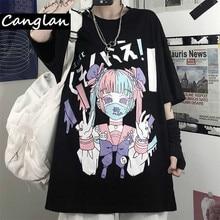 Gothic  Print Women Harajuku T-shirt Summer Cotton Tshirt Grunge Tee Top Punk Pastel Goth Clothing Anime Clothes