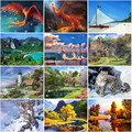 Алмазная картина «сделай сам», Красный Феникс, морской пляж, парусная лодка на горе, снег, леопард, Осенний постер лесного ландшафта