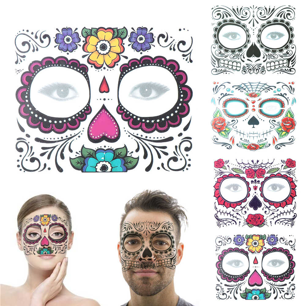 1Pc Dag van De Dode Schedel Gezicht Jurk Up Waterdichte Tijdelijke Tattoo Stickers Pop Halloween Gezicht Make-Up Gezicht Tattoo decals