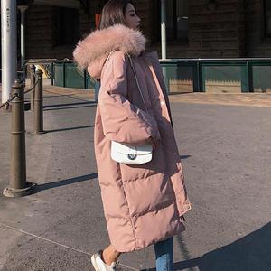 Image 1 - Długa kurtka zimowa kobiety Parka luźne ciepłe grube dół bawełna płaszcz kobiet wyściełane Oversize Student z kapturem kobieta kurtka zimowa Q2028